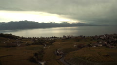 Aerial view of Lavaux vineyard,lausanne Stock Footage