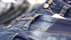 Stock Video Footage of The seam on the jeans - fabric texture