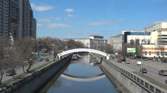 The Yauza river in the city of Moscow, Russia Stock Footage