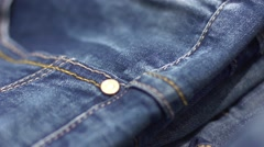 The seam on the jeans - fabric texture Stock Footage