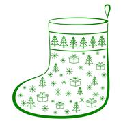 christmas stocking with fur-trees, pictogram - stock illustration