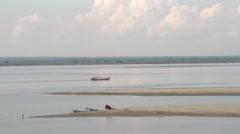 Fisherboat on Aye Yarwaddy river Stock Footage