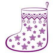 Christmas stocking with stars Stock Illustration