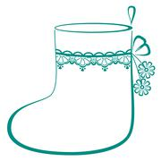 Stocking with flowers Stock Illustration