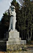 Legendary sculpture stone slavic god Radegast Stock Photos