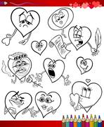 Valentine cartoon themes for coloring Stock Illustration