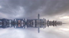 4K Dramatic Hong Kong Cityscape Skyline Mirror Time Lapse Stock Footage