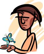Man with butterfly illustration Stock Illustration