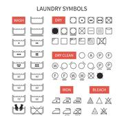 Set of  line simple washing instruction symbols .Laundry icons in flat style. - stock illustration