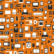 Seamless pattern of electronic devices and home appliances colorful icons set in Piirros