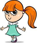 cute little girl cartoon illustration - stock illustration
