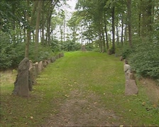 GLAVENDRUP, DENMARK - Rune stones forming the outline of a Viking ship Stock Footage