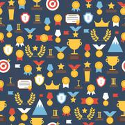 Seamless pattern of  award icons. Vector colorful set of prizes and trophy signs - stock illustration