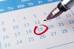Stock Photo of red circle on calendar