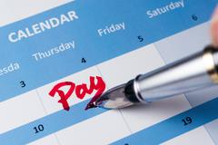 Stock Photo of pay word on calendar