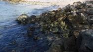 Stock Video Footage of Ocean Over Rocks