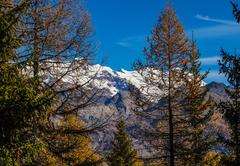 Autumn landscape in aosta valley Stock Photos