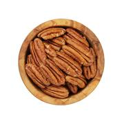 Pecan nuts in wood bowl Stock Photos