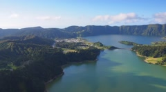 Sete Cidades Lake on Sao Miguel Island, Azores, Portugal Stock Footage