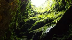 Algar do Carvao on Terceira Island, Azores, Portugal Stock Footage