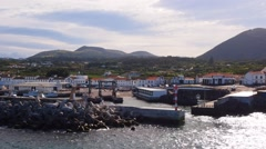 Ferry leaving Graciosa Island, Azores, Portugal - stock footage