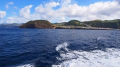 Stock Video Footage of Ferry leaving Velas on Sao Jorge Island, Azores, Portugal
