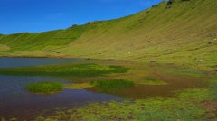 Caldeirao on Corvo Island, Azores, Portugal - stock footage