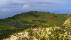 Caldeirao on Corvo Island, Azores, Portugal Stock Footage