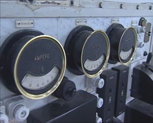 Analog switch panel with ammeters + pan voltmeter Stock Footage