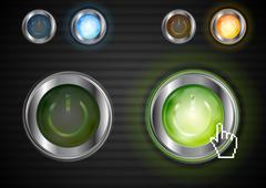 Stock Illustration of Power glossy buttons with the same illumination. Vector background