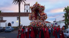 Holy Christ festivities in Vila do Porto, Santa Maria, Azores Islands, Portugal Stock Footage