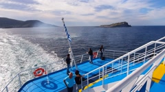 Ferry leaving Graciosa Island, Azores, Portugal Stock Footage