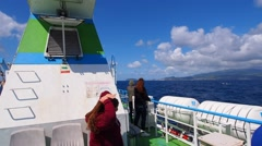Ferry going from Sao Jorge to Pico, Azores, Portugal - stock footage