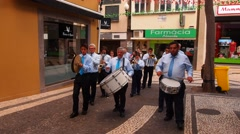 Parade in Funchal, Madeira, Portugal Stock Footage
