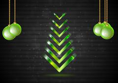 Abstract Christmas fir tree with green balls. Vector - stock illustration