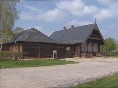 Chalets anno 1826 in Russian settlement Alexandrowka + pan Stock Footage