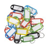 Plastic key tags of various colors Stock Photos