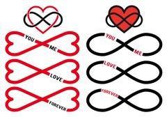 Never ending love, red infinity hearts, vector set Stock Illustration