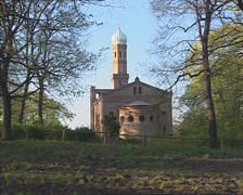 St. Peter and Paul Church on Nikolskoe + pan forest Stock Footage