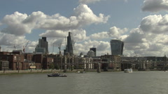 Stock Video Footage of Millennium Bridge + Skyscrapers Thames