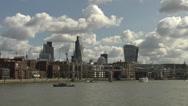 Stock Video Footage of Millennium Bridge + Skyscrapers Thames