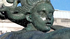Trafalgar Square Fountain Detail, Central London, UK Stock Footage