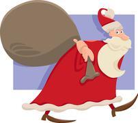 santa with sack cartoon illustration - stock illustration