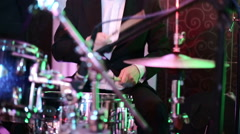 Drummer playing the drums at the festival stage Stock Footage