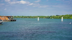 detroit river south boat marina - stock footage