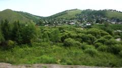 Transsiberian Railway suburban village Stock Footage