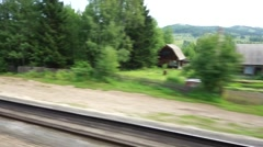 Transsiberian Railway Siberian village - stock footage