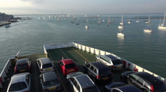 Vehicles on the cowes to southampton red funnel ferry, isle of wight, england Stock Footage