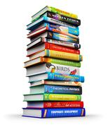 Big stack of color hardcover books - stock illustration