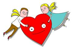 Angel boy and girl with smiling heart on white background - stock illustration